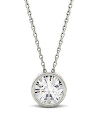 14K White Gold Bezel-Set Solitaire Round Diamond Kid Charm Pendant