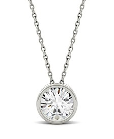 Moissanite Bezel Solitaire Pendant (1/2 ct. t.w. Diamond Equivalent) in 14k White or Yellow Gold