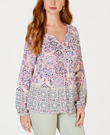 Style & Co Petite Printed Babydoll Blouse, Created for Macy's