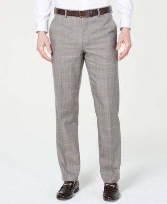 Men's Classic-Fit Airsoft Stretch Brown/Cream Windowpane Suit Pants