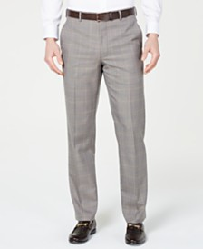 Michael Kors Men's Classic-Fit Airsoft Stretch Brown/Cream Windowpane Suit Pants