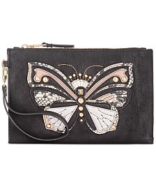 I.N.C. Molyy Butterfly Suede Party Wristlet, Created for Macy's