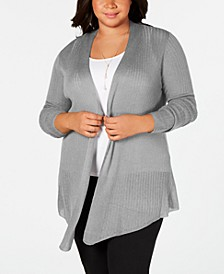 Belle by Plus Size Pointed-Hem Open-Front Cardigan