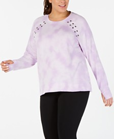 Ideology Plus Size Tie-Dyed Grommet Top, Created for Macy's