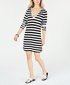 Long-Sleeve Hooded Cover-Up Dress