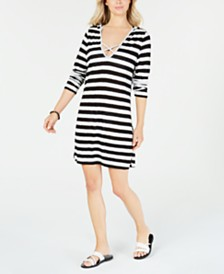 Miken Long-Sleeve Hooded Cover-Up Dress
