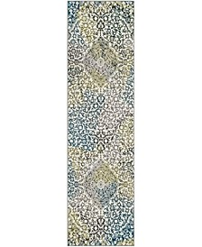 "Watercolor Ivory and Peacock Blue 2'2"" x 8' Runner Area Rug"