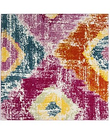 """Watercolor Fuchsia and Orange 6'7"""" x 6'7"""" Square Area Rug"""