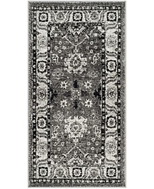 "Vintage Hamadan Gray and Black 2'7"" x 5' Area Rug"