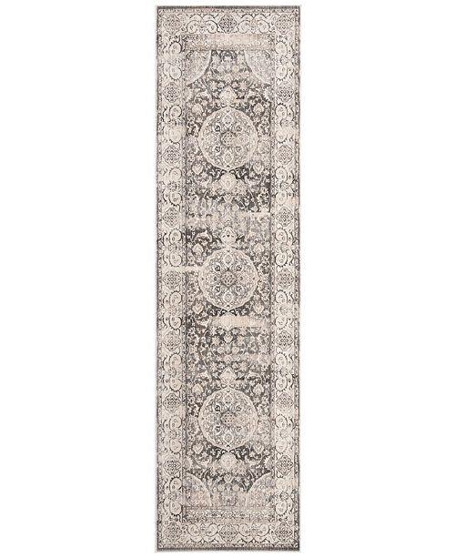 "Safavieh Vintage Persian Dark Grey and Ivory 2'2"" x 12' Runner Area Rug"