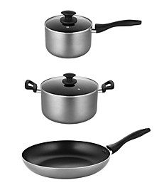 "5 Piece Nonstick Cookware Set - 3QT Saucepan, 8QT Stock Pot, 12"" Frypan"