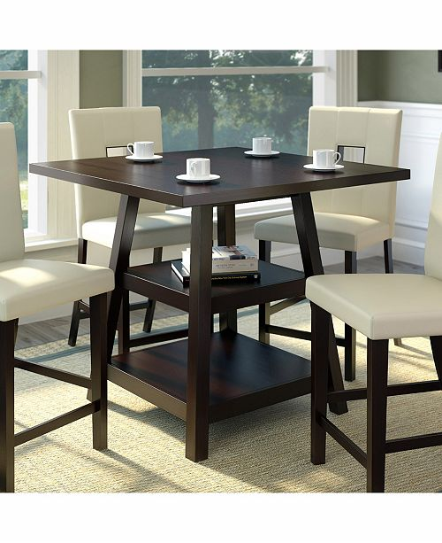 Counter Height Dining Table with Shelves