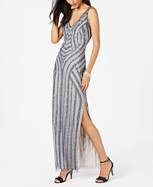 Adrianna Papell Embellished Patterned Column Gown
