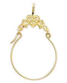 14k Gold Charm Holder, Polished Filigree Heart Charm Holder