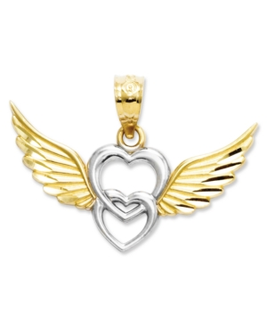 14k Gold and Sterling Silver Charm, Heart with Wings Charm