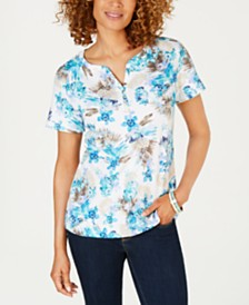 Karen Scott Bristol Printed Split-Neck Top, Created for Macy's