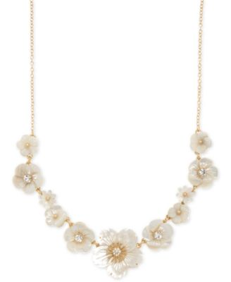 """Gold-Tone Crystal & Imitation Mother-of-Pearl Flower Statement Necklace, 16"""" + 3"""" extender"""