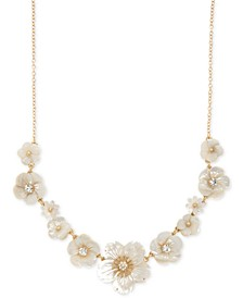 "Gold-Tone Crystal & Imitation Mother-of-Pearl Flower Statement Necklace, 16"" + 3"" extender"
