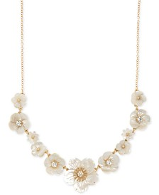 "lonna & lilly Gold-Tone Crystal & Imitation Mother-of-Pearl Flower Statement Necklace, 16"" + 3"" extender"