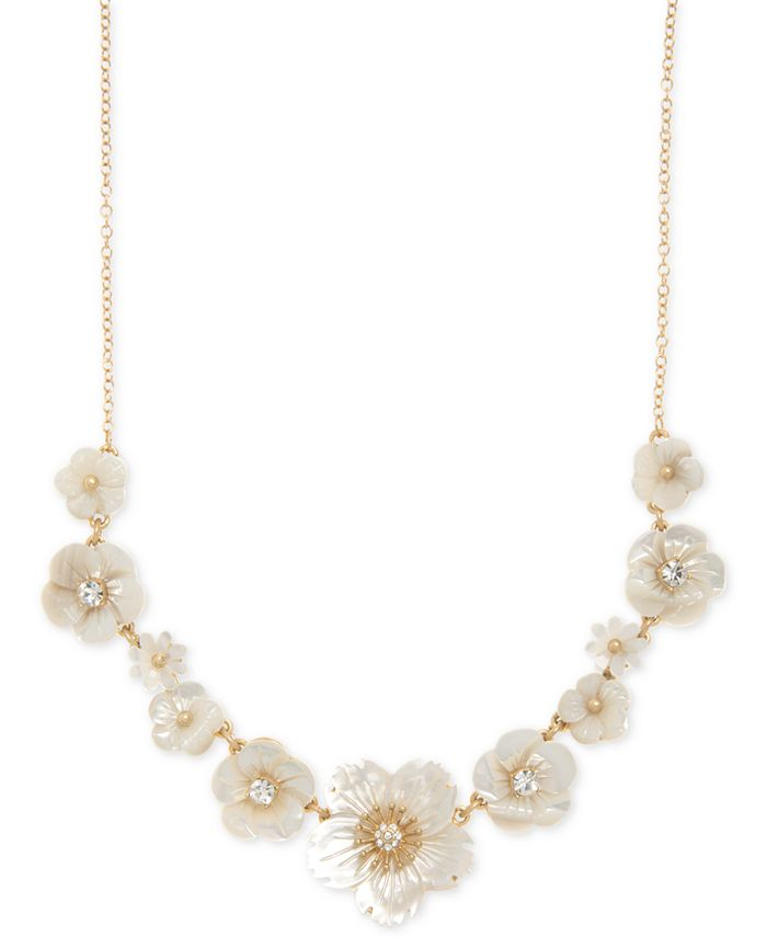 """lonna & lilly - Gold-Tone Crystal & Imitation Mother-of-Pearl Flower Statement Necklace, 16"""" + 3"""" extender"""