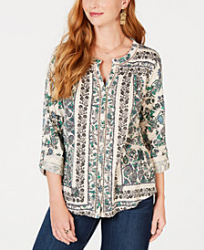Style & Co Petite Printed Roll-Tab Shirt, Created for Macy's