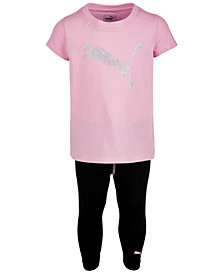 Puma Toddler Girls 2-Pc. Glitter Logo T-Shirt & Capri Leggings
