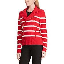 Lauren Ralph Lauren Striped Moto Jacket
