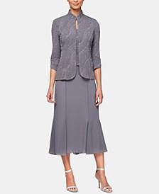 Glitter-Print Jacket & Midi Dress