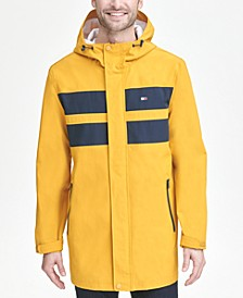 Men's Bonded 3/4th-Length Hooded Rain Jacket, Created for Macy's