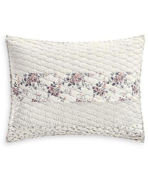 Martha Stewart Collection Textured Floral Stripe Standard Sham, Created for Macy's