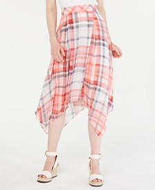 Tommy Hilfiger Plaid Handkerchief-Hem Skirt, Created for Macy's