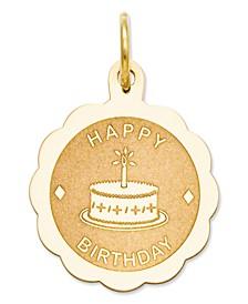14k Gold Charm, Happy Birthday Charm