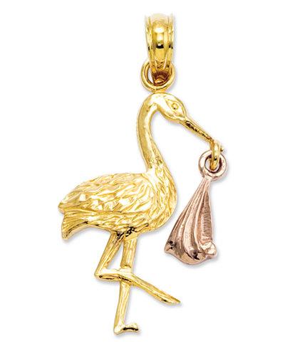 14k Gold and 14k Rose Gold Charm, Stork Charm