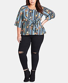 Trendy Plus Size Mixed-Print Top