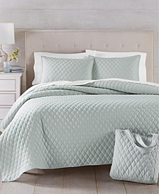 4-Pc. Solid Grey Quilt and Tote Bags Set, Created for Macy's