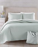 Martha Stewart Essentials 4-Piece Full/Queen Quilt and Tote Bag Set Created for Macys Bedding