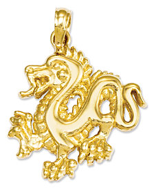 14k Gold Charm, Small Dragon Charm