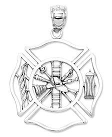 14k White Gold Charm, Fireman Shield Charm