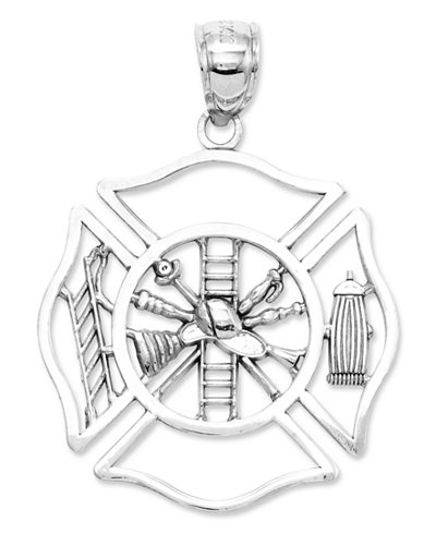 14k White Gold Charm, Fireman Shield Charm