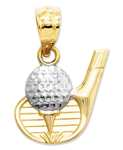 14k Gold and Sterling Silver Charm, Golf Club and Ball Charm