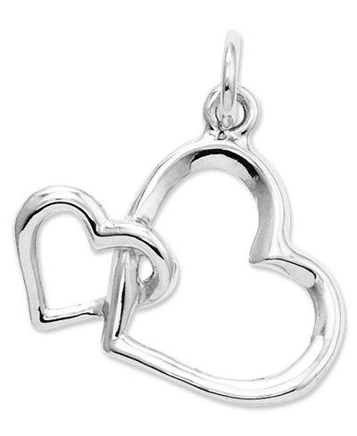 14k White Gold Charm, Double Heart Charm