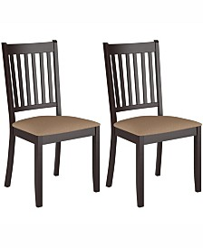 Corliving Stained Dining Chairs with Microfiber Seat, Set of 2