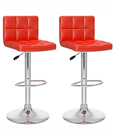 Mid Back Square Panel Adjustable Barstool in Leatherette, Set of 2