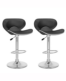 Curved Form Fitting Adjustable Barstool in Leatherette, Set of 2