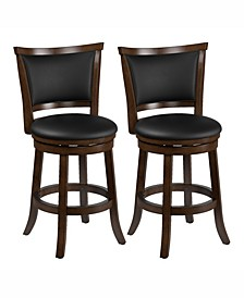 Counter Height Wood Barstools with Bonded Leather Seat and Backrest, Set of 2