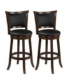Corliving Wood Barstools with Bonded Leather Seat and Backrest, Set of 2