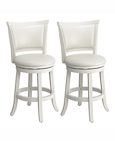 Counter Height Wood Barstools with Leatherette Seat and Backrest, Set of 2