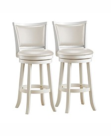 Corliving Wood Barstools with Leatherette Seat and Backrest, Set of 2