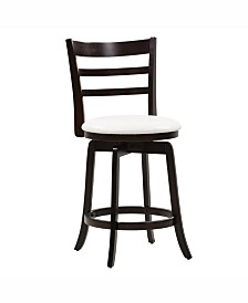Corliving Counter Height Wood Barstool with Leatherette Seat and 3-Slat Backrest