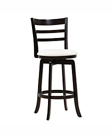 Wood Barstool with Leatherette Seat and 3-Slat Backrest